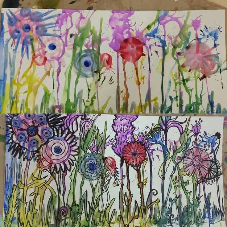 #liquidwatercolor #watercolor #sharpie #experimentalpainting #flowerpainting #artprep #artlessons