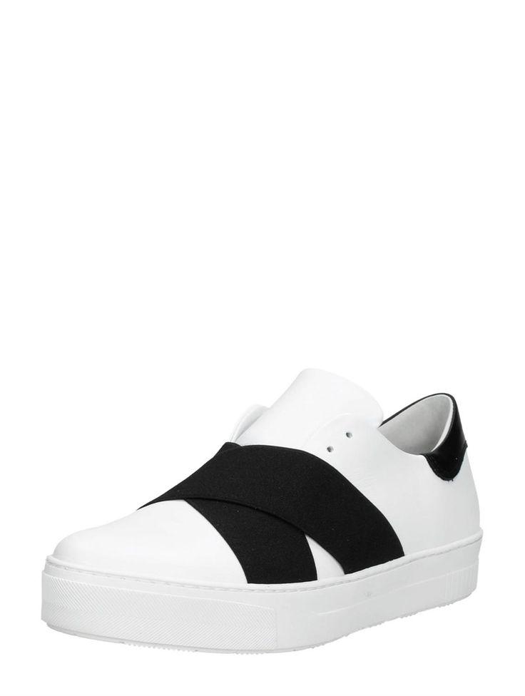 SPM Junin instappers sneakers wit met zwart elastiek