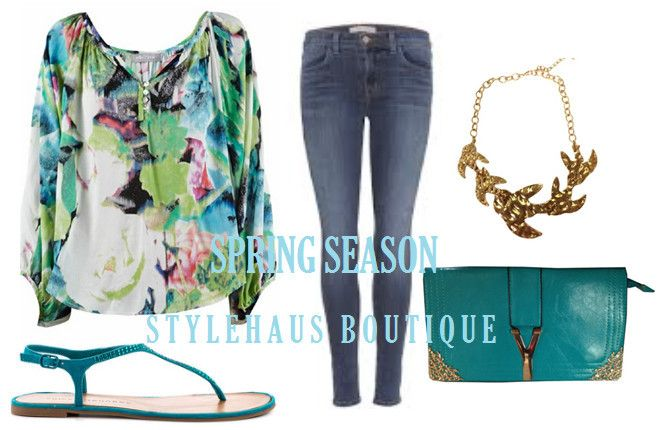 Spring Floral shirt, skinny jeans, dove necklace & favourite clutch. - Stylehaus Boutique, Clothing Retailers, Mile End, SA, 5031 - TrueLocal
