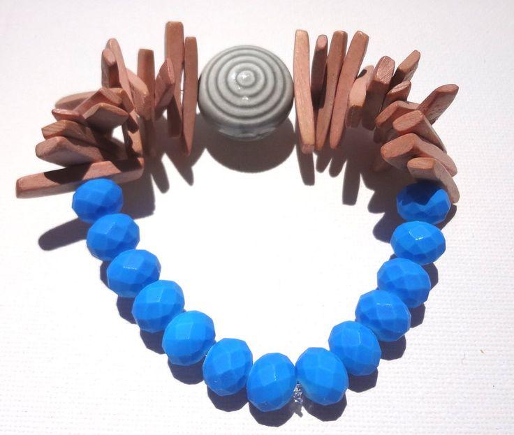 Women Beaded Bracelet Blue Silicone Stone Ceramic Stone Wooden Natural Color Beads Greek Ethnic Style Summer Beachwear Gift Handmade by ArtArgo on Etsy