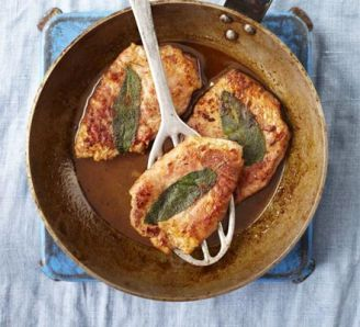Veal escalopes wrapped with prosciutto, sage & lemon (saltimbocca)