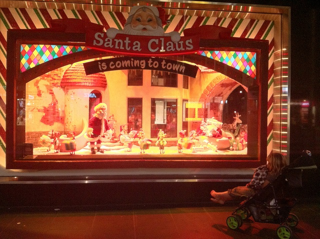 Myer Christmas windows in Melbourne, Australia. At. Christmas, the windows of Myer on Bourke Street show a Christmas story, with each window being a different scene.
