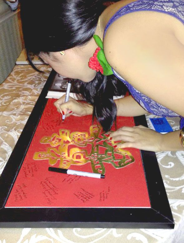 Our Guestbook Was A Gold Papercut Of The Shuang Xi Character On Red Posterboard We Chinese AmericanAmerican WeddingReception IdeasWedding