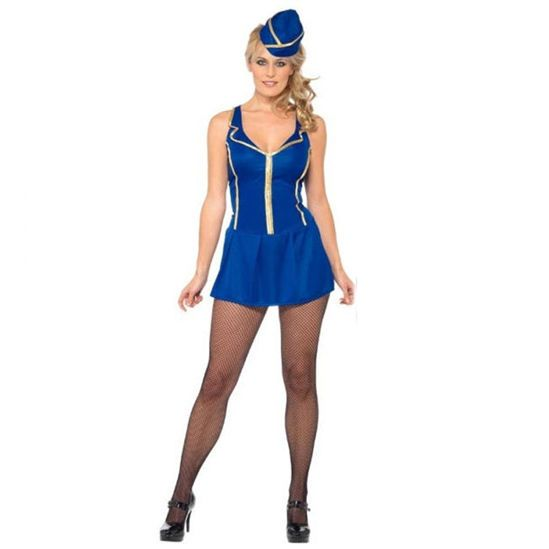 Time 4 Party Ladies Adult Cabin Crew Cutie Fancy Dress Costume And Hat