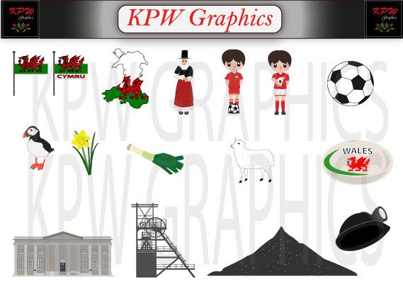 Wales  UK  Countries of the World Clipart Set in a by KPWgraphics