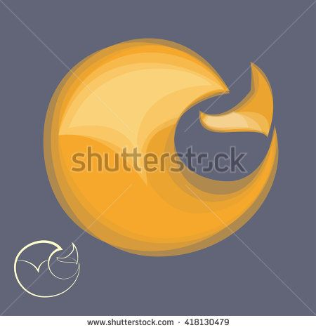 Fox symbol sign - vector illustration. red fox logo with yellow outline - stock vector