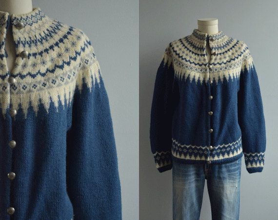 Vintage Nordic Wool Fair Isle Cardigan / 60s Hand Knit Sweater Blue Cream Grey
