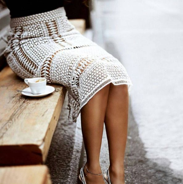 So beautiful!!  Is this crochet lace?? It is delicate and sophisticated!  I love the length also.  The skirt still covers her knees while she is sitting.  How ladylike...! #Perfection