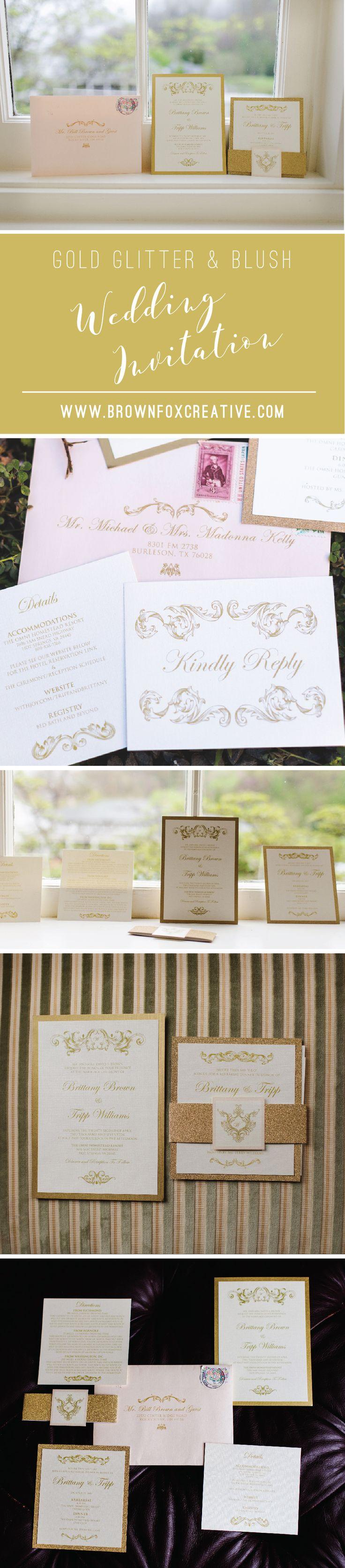 how to return address wedding envelopes%0A Traditional Formal Vintage Gold Glitter and Pink Blush Rose Wedding  Invitation with Enclosure Band  u     Return Address Printing