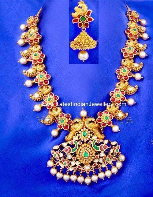 Nakshi Work Kundan Mango Necklace