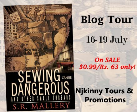"""@DogsMomLaura @SArahMallery1 """"I really enjoyed this collection. S.R. Mallery's words paint images that transport the reader to another time, place and culture.  You'll enjoy getting lost in each experience...""""  Checkout #BookReview, #99cSale, $25 Amazon GC #Giveaway: Sewing Can Be Dangerous and Other Small Threads by S.R. Mallery on Laura's Blog here: http://dogsmomvisits.blogspot.in/2015/07/sewing-can-be-dangerous-and-other-small.html  #IndieAuthor #Recommended #HistoricalFiction"""