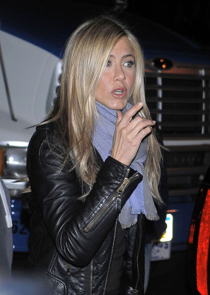 Jennifer Aniston - leather jacket + scarf.