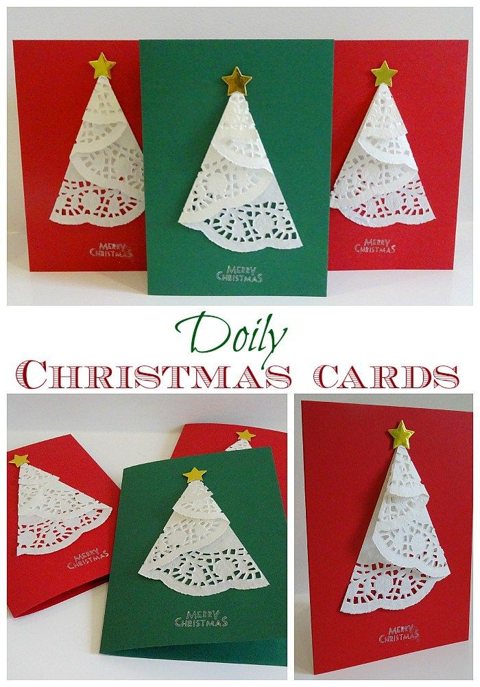 Doily Christmas cards - Very simple to make!                                                                                                                                                      More