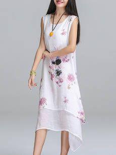 Sleeveless Round Neck Printed Shift Dress