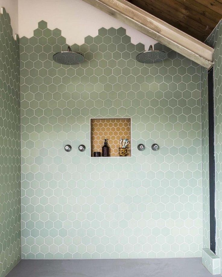 """""""It's all about hexagons for this mornings bathroom inspiration via #pinterest How cool does this look and the luxury of that double shower!! Our…"""""""