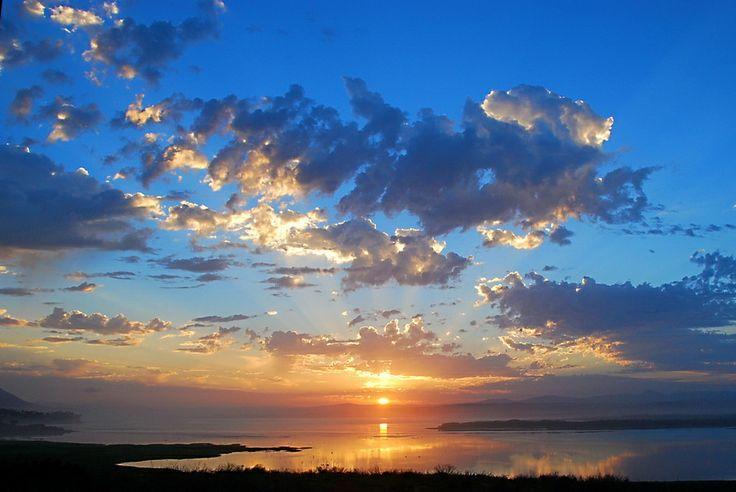 A sunrise scene the lake area on the eastern side of Hermanus, South Africa.
