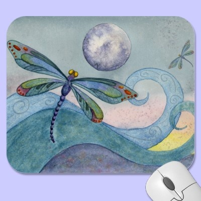 Dragonfly Moon Mousepad (Watercolor artwork by Kelley Pounds of Kell's Creations)
