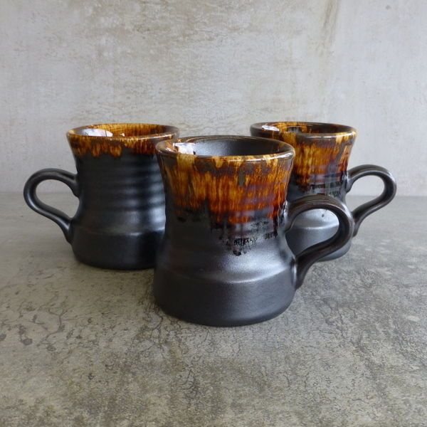 Vintage Crown Lynn 'Titian Ware' Coffee Mugs, Made in New Zealand, 1970's. no.1222