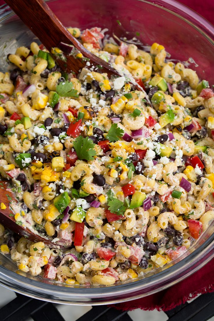My new favorite macaroni salad! So many fresh delicious flavors and sure to be a crowd pleaser! Delicious served with grilled chicken or steak.