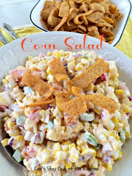 Corn Salad   Ingredients 1 can whole kernel corn, drained ½ cup mayonnaise or Miracle Whip ½ cup red onion, diced fine 1 cup bell pepper (red, orange and yellow) 1 cup shredded cheese ¼ bag Chili-Cheese Fritos Instructions Mix ingredients (except Fritos) together and refrigerate. Add about ¼ bag chili-cheese Fritos just before serving. Stir to combine well. Garnish with more Fritos if desired.