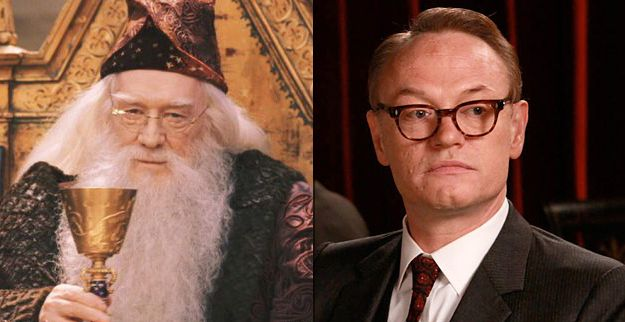 The father of Jared Harris (Lane Pryce) is Richard Harris — the man who played the original Dumbledore.