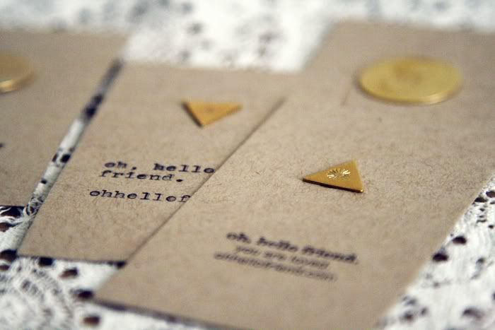 DIY business cards with stamped metal shapes