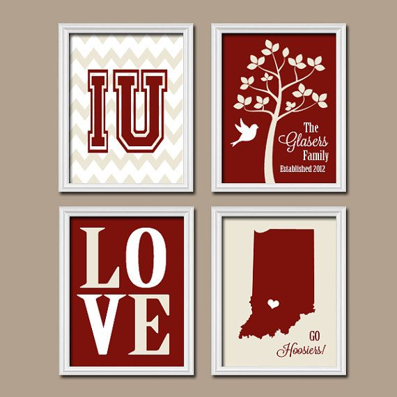 Indiana University College School Custom Family Monogram Initial State LOVE Bird Tree Wedding Date Set of 4 Prints WALL ART Graduation