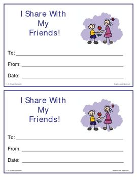 Sharing - 20 Printable sharing certificates.2 certificates per page. Print up on white card stock to make more sturdy. Reward each child that shares with a special certificate. Place for child's name, date and a place for you to sign.Goes great with my manners downloads.