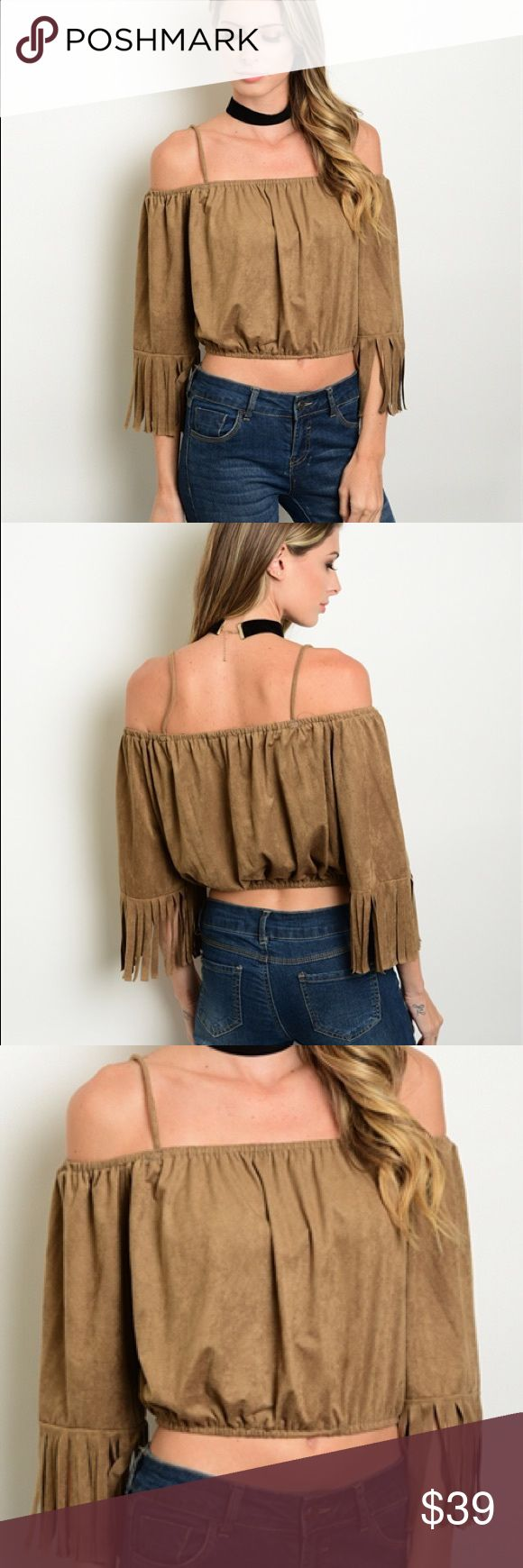 Suzanne suede fringe top Adorable crop top with a gathered hem, long sleeves with fringe trim and exposed shoulders. 92% polyester 8% spandex. amandine boutique Tops Crop Tops