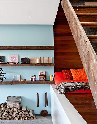 Under-staircase seating, color story