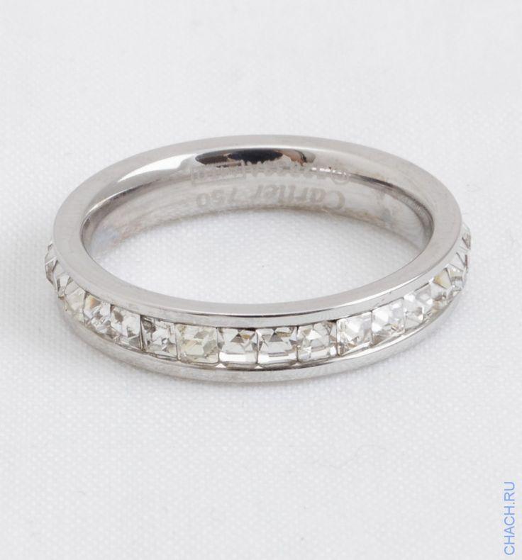 Кольцо Cartier c кристаллами по кругу, цвет белого золота