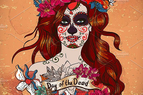 Girl with Sugar Skull Face by Depiano on @creativemarket