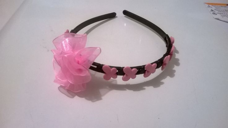 Made this Aliceband for a girly - Pink baby flower with pink butterflies on the headband