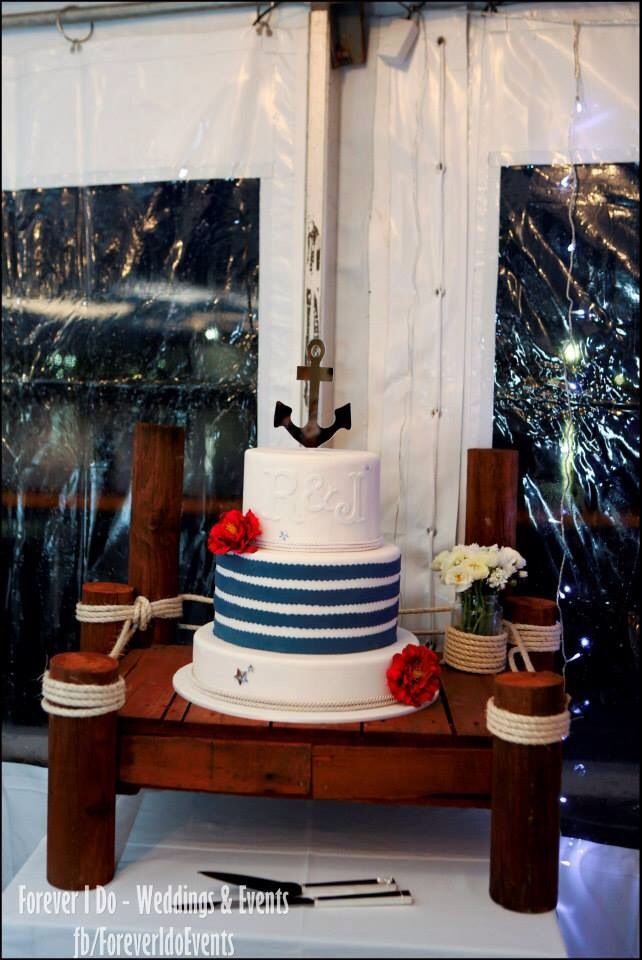 Nautical Wedding Cake & Cake stand  www.facebook.com/ForeverIDoEvents