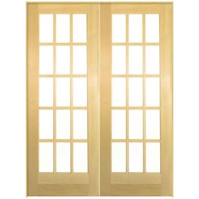 Masonite, Smooth 15 Lite Solid-Core Unfinished Pine Double Prehung Interior French Door, 81054 at The Home Depot - Tablet
