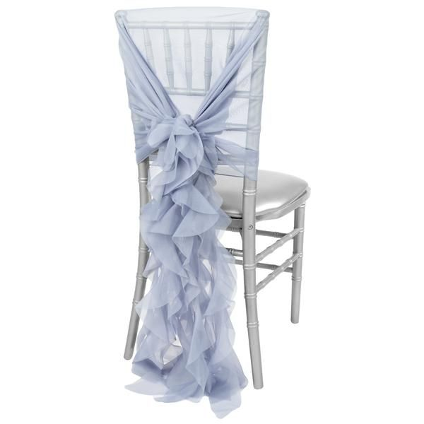 1 set of soft curly willow ruffles chair sash cap dusty blue curly willow chair sash wholesale chairs