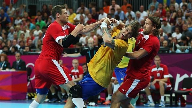 Denmark v Sweden in men's quarter-final match - Handball