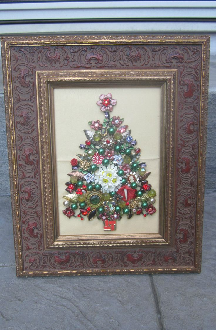 FRAMED VINTAGE COSTUME JEWELRY CHRISTMAS TREE ART ONE OF A KIND TAKE A LOOK!! | eBay