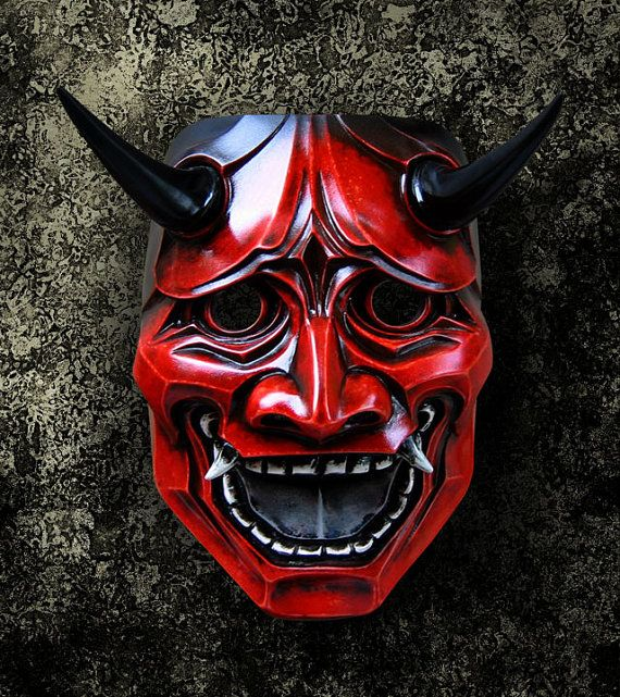 Japanese oni mask red
