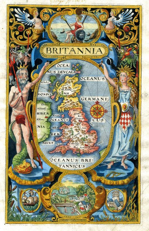"""""""The most amazing vivid colours in this Britannia engraving by William Hole, London 1607. Neptune and Ceres flank the central roundel with a map of the British Isles (although showing only the eastern part of Ireland). A seated Britannia at the top of the page is one of the earliest printed depictions of the British allegory."""""""