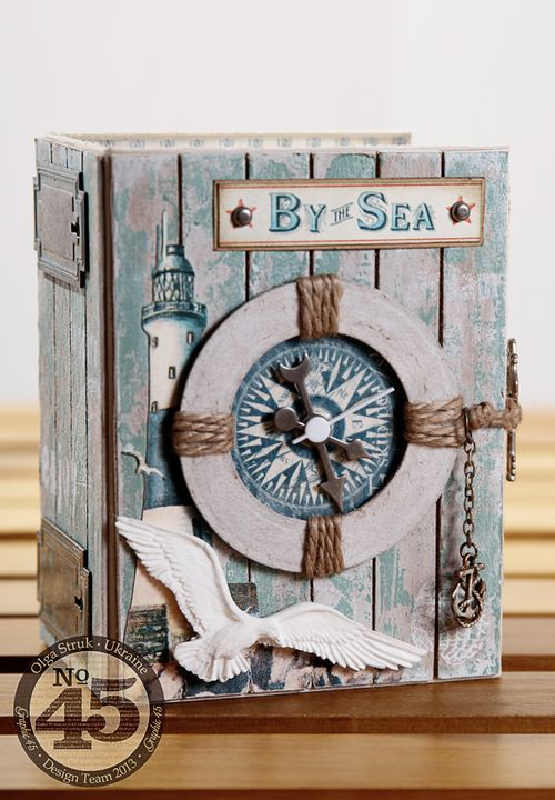 Olga made this stunning altered ATC Book Box clock using By the Sea! Click to see more amazing photos from this project #Graphic45