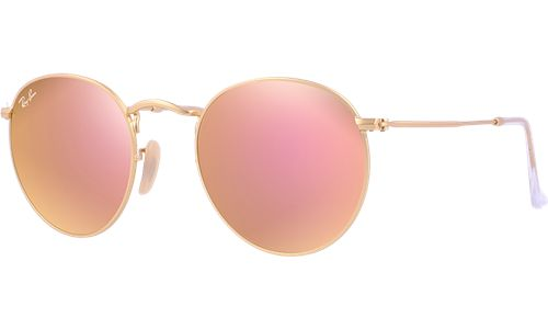RAY-BAN sun collection matte gold frame with brown mirror pink lenses <3_<3