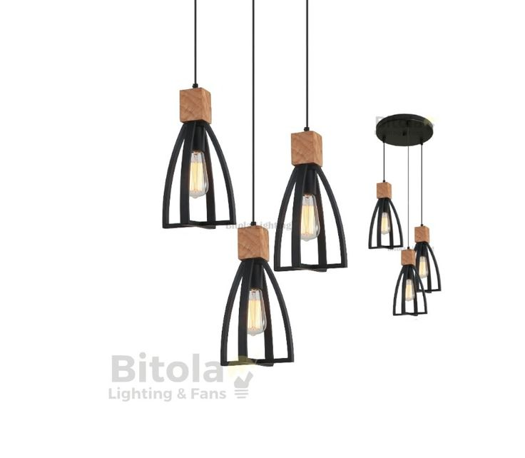 CLA+Faro+3+Light+Ceiling+Pendant+Black/Wood+*CUSTOM*+FARO1, $399.00