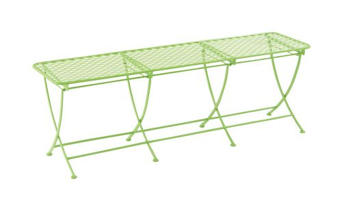 Simply styled metal outdoor bench