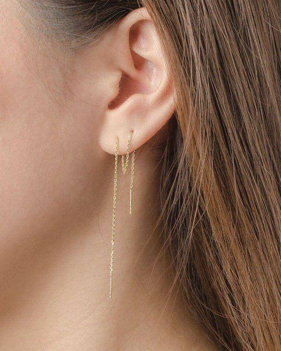 Edgy Earrings Silver Long Threader Earrings Thin Chain Earrings String Earrings Valentine Gift Bar Ear Threader Pull Through Earrings