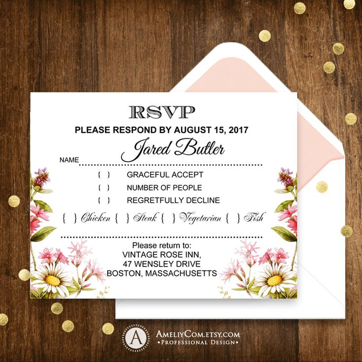 Printable RSVP Card Rustic Summer wildflowers - Garden theme Weddings - Botanical Flowers Instant Download EDITABLE Wedding Response Card
