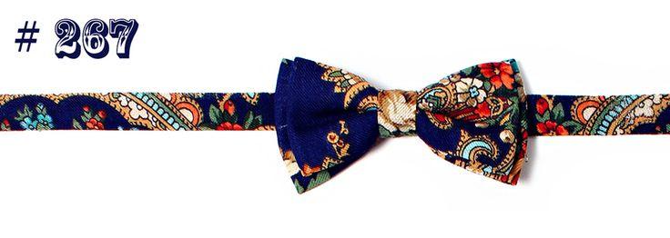 Hemd Fliege #267 Unikat mit Paisley-Muster aus 100% Wolle, blau | Shop à la Russe