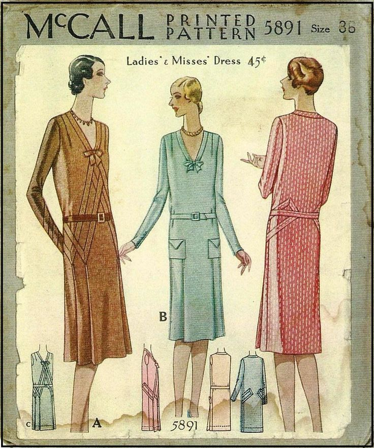 1920s Lades Dress Sewing Pattern - McCall 5891 | Patterns