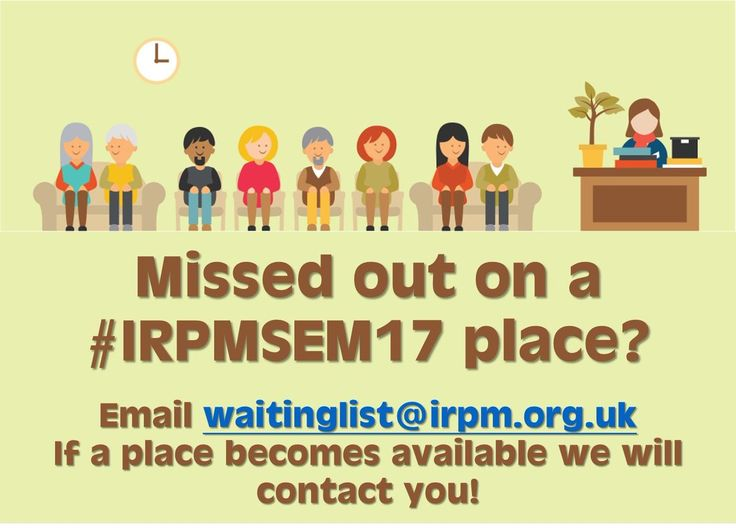 Email waitinglist@irpm.org.uk to be placed on a waiting list!  http://buff.ly/2rycB0c  #IRPMSem17 #SoldOut #WaitingList #IRPM #AnnualSeminar