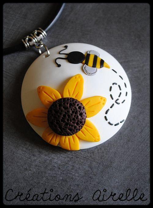 Collection noir et blanc à petits pois + tournesols http://www.dollycrazy.com/_fimo/